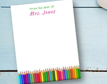 Personalized Teacher Notepad | Art Teacher Colored Pencil Notepad | Printed Gift Set - 50 Sheets/Notepad | 4.25 x 5.5