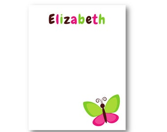Personalized Butterfly Notepad | Butterfly Notes | Pink-Brown-Lime Notes| 4.25 x 5.5 | Digital or Printed | 50 sheets