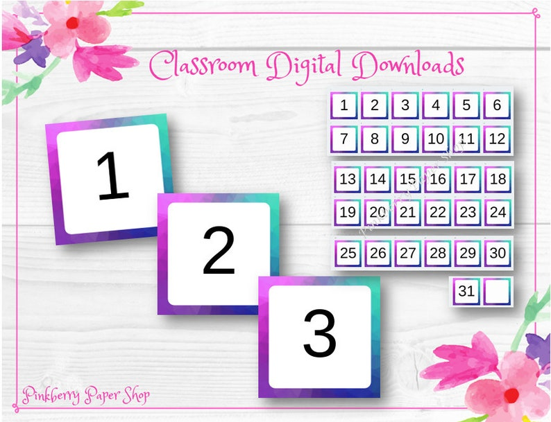 graphic regarding Printable Classroom Labels named Printable Rainbow Calendar Quantities Clroom Labels Resources 2\