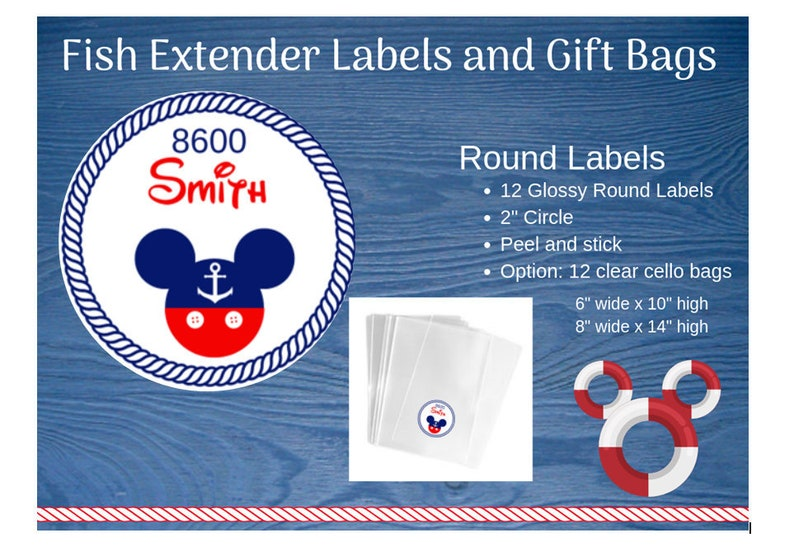 Disney Cruise Gift Labels 2 Glossy Peel and Stick Labels Nautical Mickey Personalized Fish Extender Labels