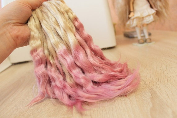 Doll hair Mohair weft Reborn mohair ombre turquoise//pink