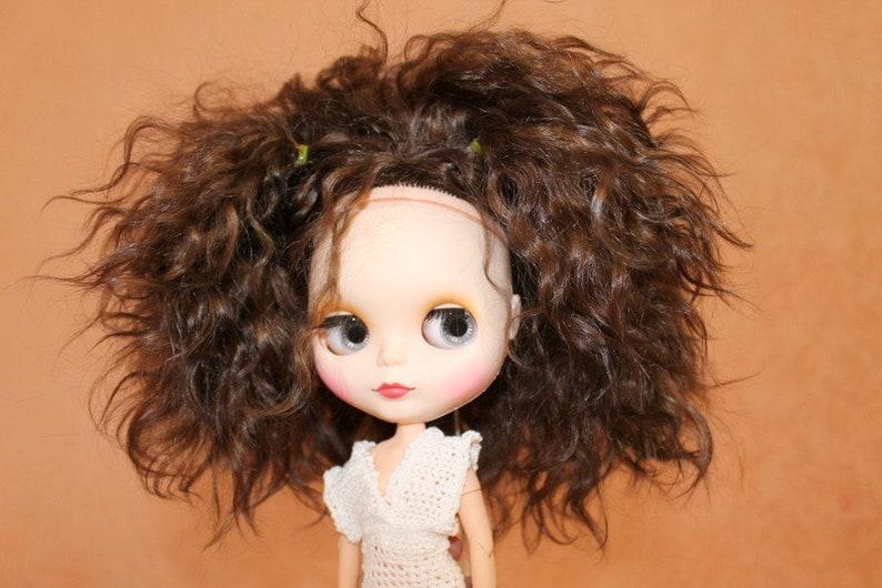 dark brown Pre-order Scalp blythe custom reroot mohair Blythe wig Blythe mohair natural weft Scalp custom OOAK- Blythe custom