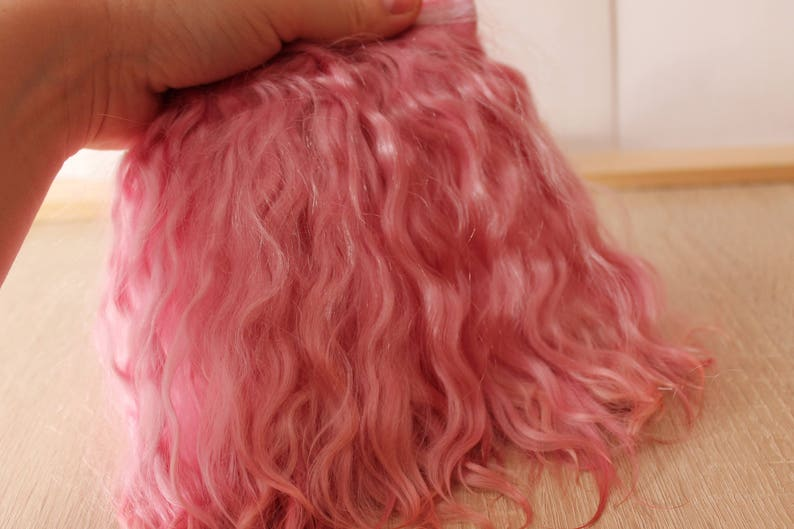 7  Pink mohair Angora mohair locks Weft hair Natural goat locks Wavy hair for doll hair: Pullip pink Josd Mohair puppe tress Minifee