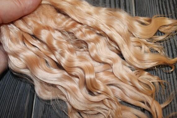 "Mohair Doll Hair color White sand 8-11/"" in 0.35 oz locks angora DIY baby reborn"