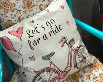 Bicycle Pillow Cover, Lets Ride