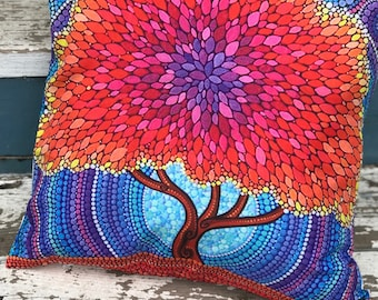 Colorful Tree Pillow Cover, Mothers Day Gift, Hippie Decor