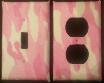 Pink Camouflage Light Switch and Outlet Covers, Cool and Fun Free Shipping!