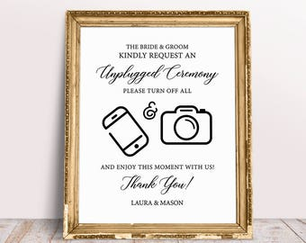 unplugged ceremony sign no phones and cameras unplugged wedding sign turn off cell phone sign wedding signs unplugged sign wedding art
