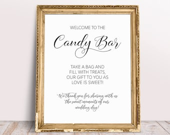 Wedding sayings etsy welcome to the candy bar take a bag and fill with treats our gift to you as love is sweet candy bar sign wedding candy bar wedding print junglespirit Gallery