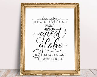 Love Makes The World Go Round, Please Sign Our Guest Globe, Because You Mean The World To Us, Globe Guest Book Sign, Wedding Quote Sign