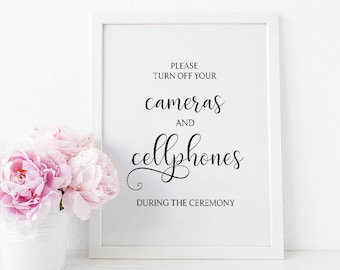 Unplugged Ceremony Sign, Please Turn Off Your Cameras And Cellphones During The Ceremony, Unplugged Wedding Sign, Wedding Signage