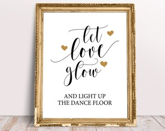 Light Up Dance Floor Sign Navy Blue /& Gold Effect Personalised Let Love Glow