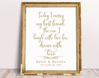 Today I Marry My Best Friend Wedding Quotes Wedding Signs Etsy