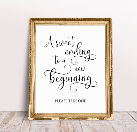 A Sweet Ending To A New Beginning Wedding Quotes Wedding Etsy