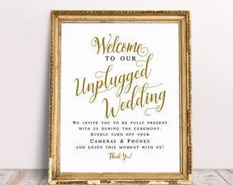Welcome To Our Unplugged Wedding, Unplugged Ceremony Sign, Wedding Signs, Unplugged Wedding Sign, Wedding Printables, Wedding Signage