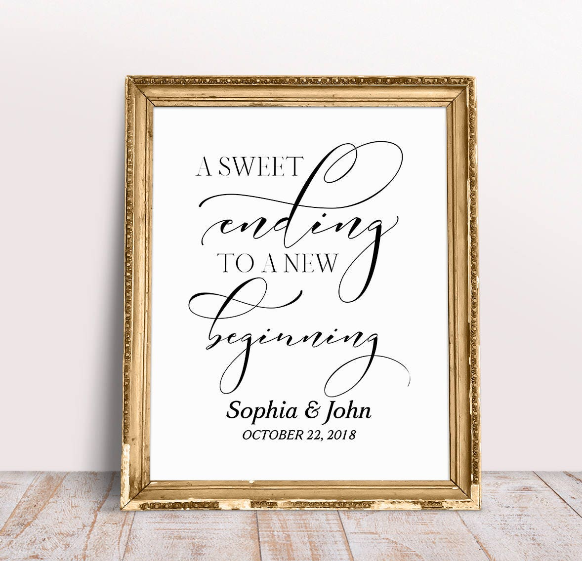A Sweet Ending To A New Beginning Wedding Favors Sign
