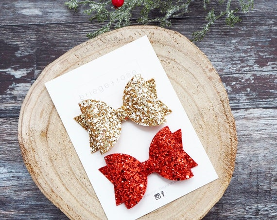 Christmas Hair Bow Set