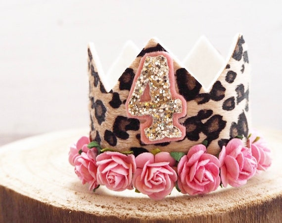Animal Print Crown With Flowers