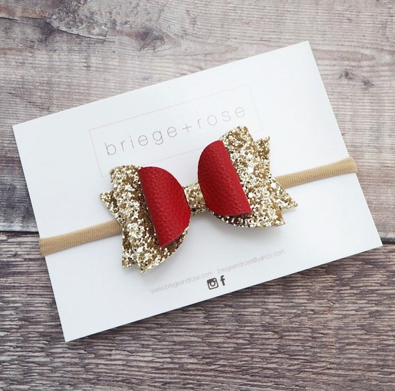 Gold Glitter and Red Leather Belle