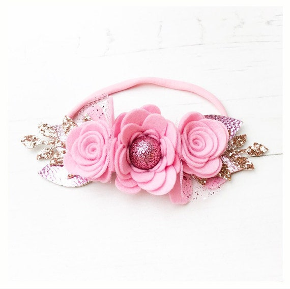 Pink and Rose Gold Elize Flower Crown