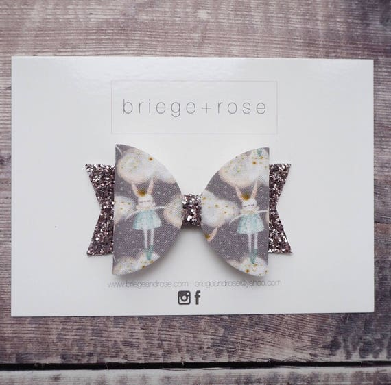 Silver hair bow, girls hair bow, Christmas hair bow, baby headband, glitter hair bows, grey hair bow, Christmas hair clips, Christmas gift