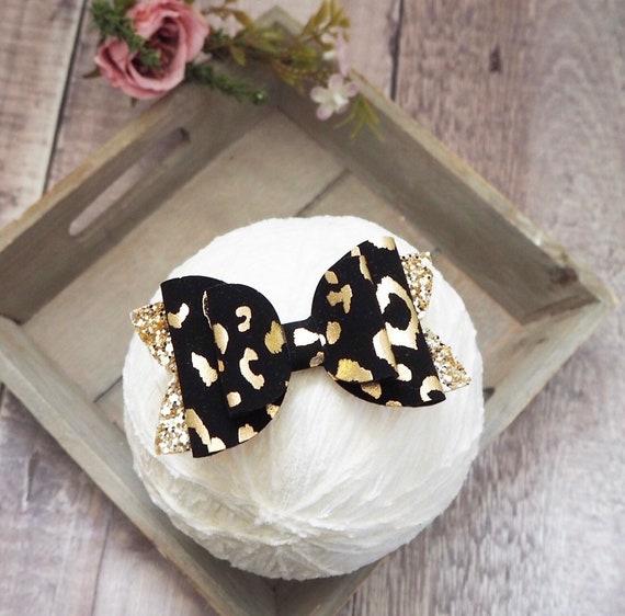 Black leopard print bow