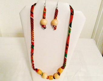 African print necklace with matching earrings Set