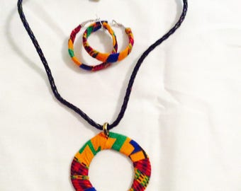 African print necklace with matching hoop earrings Set