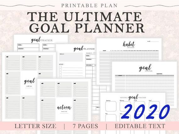 Goal Planner Insert Pdf A4 Ultimate Printable Planner Bundle Business Tracker 2020 2020 Business Planner Goal Setting Planner Goal 2020
