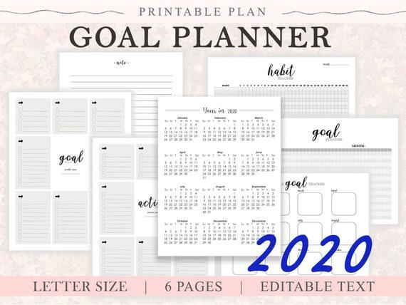 2020 Goal Planner Printable Goal Worksheets Goal Success Tracker Goal Planning Goal Setting Life Planner Goal Action Plan Letter Size
