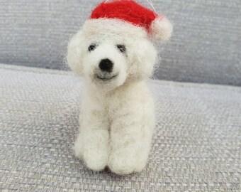 Poodle Christmas decoration, needle felted Poodle, needle felted Dogs