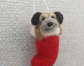 Needle felted Border Terrier, Border Terrier Christmas stocking, Christmas stocking with Dog, Pet Christmas decorations