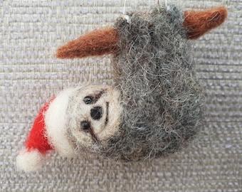 Sloth hanging decoration, needle felted Sloth, Sloth Christmas decoration