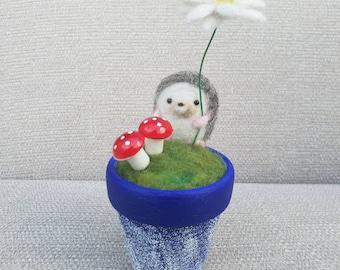 Needle felted Hedgehog, Hedgehog in plant pot, hand painted ceramic pot, Hedgehog house ornament, plant pot with animal, felted flower