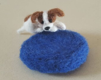 Miniature needle felted Jack Russell, Cute Jack Russell dog with dark blue rug, Tiny felted dog with rug, dog lover gift, dog dollhouse