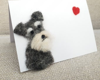 Schnauzer card, Dog lover greeting card, Schnauzer greeting card, needle felted Dogs, felted Schnauzer, Dog card, needle felted Schnauzer