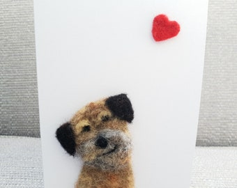 Border Terrier card, needle felted Border Terrier, Needle felted Dogs, Dog lover card, Border Terrier gifts, Border Terrier birthday card