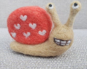 Needle felted Snail,  Snail sculpture, Snail ornament, Snail lover gifts