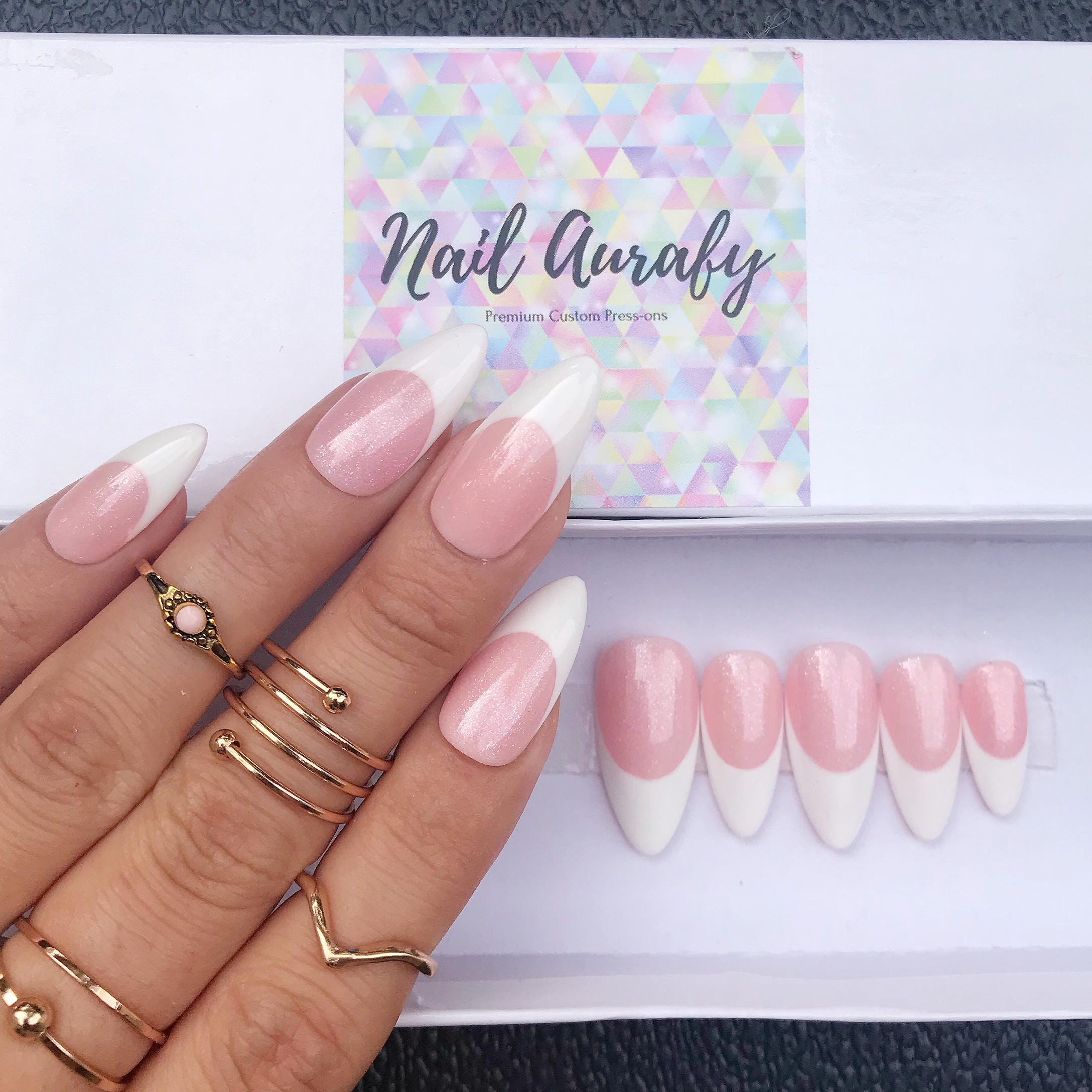 Miss Rosie French- Shimmery Rosie Pink and White French Tips/Press ...