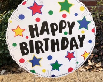 Happy Birthday Balloon Yard Sign Primary