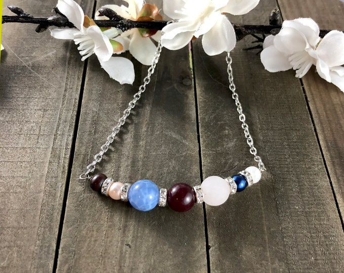 Custom birthstone bead necklace • Family birthstone necklace