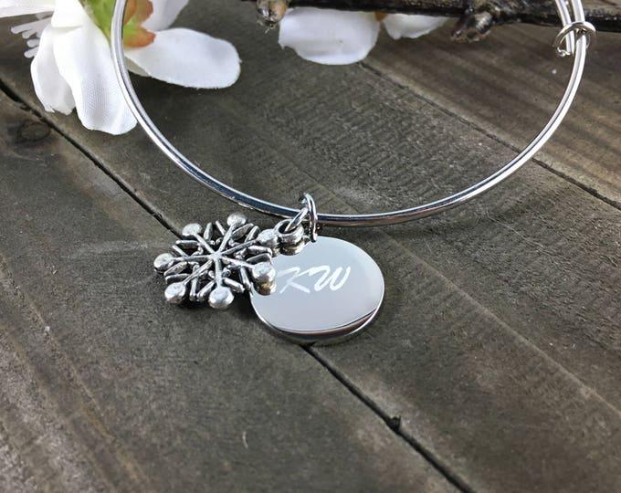 Snowflake Charm Bracelet • Engraved Bangle charm bracelet