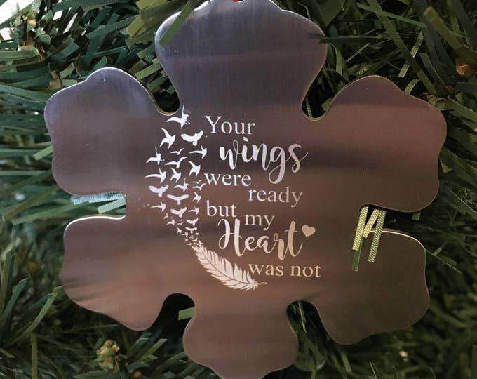 Snowflake Christmas ornament • Engraved Christmas ornament First Christmas together