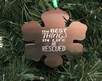 Snowflake Christmas ornament - animal rescue