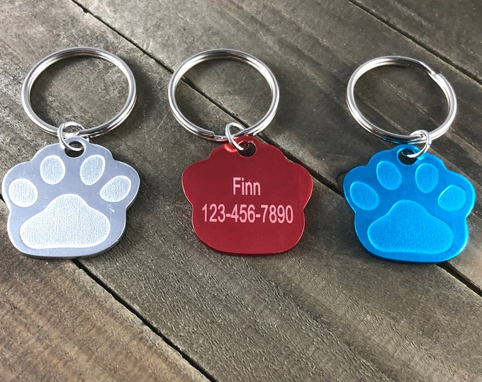 Colorful dog tag •personalized dog tag •Pawprint shaped dog tag •customized pet tag • Pet ID tag •dog tag engraved •Dog collar tag •Aluminum