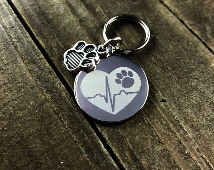 Pawprint stethoscope tag • Custom engraved stethoscope tag