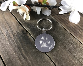 Real pawprint keychains • engraved keepsakes