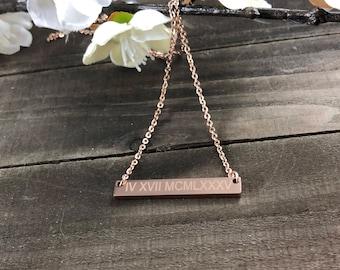 Roman numeral necklace • minimalistic necklaces • Custom date necklace