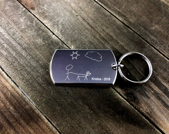 Kids drawing keychain • Engrave Your Child's Art