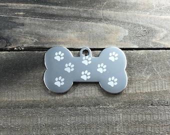 Pawprint pattern dog tag •  Bone shaped dog tags